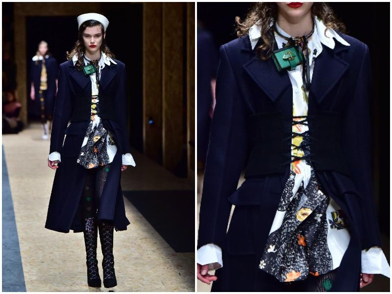 The darkest blue, in some cases veering towards purple or black, was also a key womenswear trend for the season. It was the colour of choice for many pieces at New York, Milan, London and Paris Fashion Week. Navy coats, capes and parkas at Prada. (AFP)