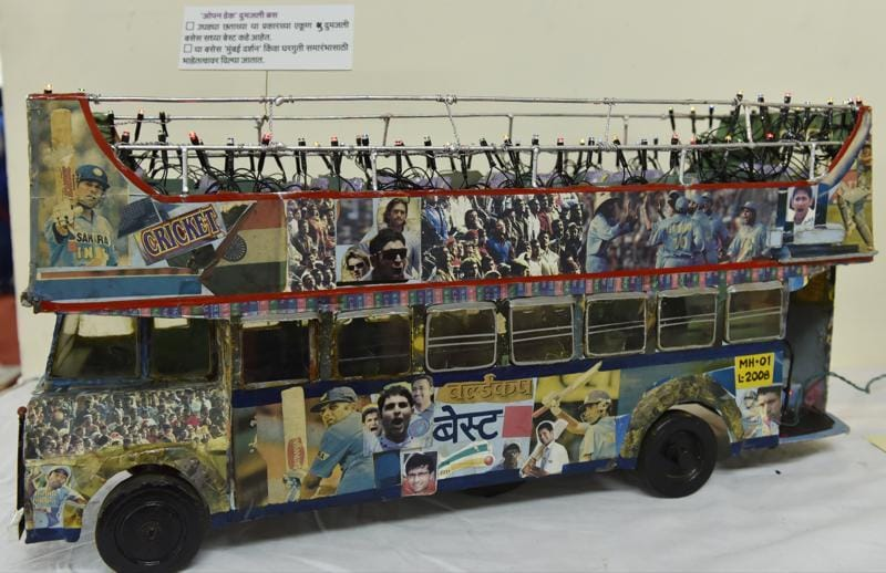A model of the open deck double-decker bus which was used by the Indian cricket team for a victory rally after winning the T20 World Cup . (ANSHUMAN POYREKAR)