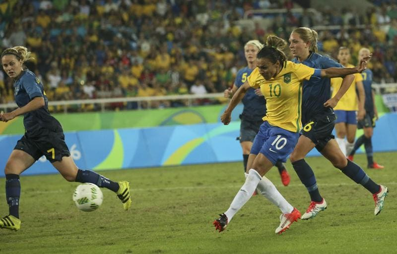 Marta scored twice against Sweden as Brazil won the game 5-1. They have scored eight goals so far in the tournament. (Gonzalo Fuentes/REUTERS)
