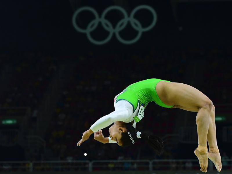 The girl from Tripura, who is the country's first woman gymnast to qualify for the Olympics, managed to perform her much-appreciated 'Produnova' vault cleanly to secure 14.850 points after two attempts. (AFP Photo)