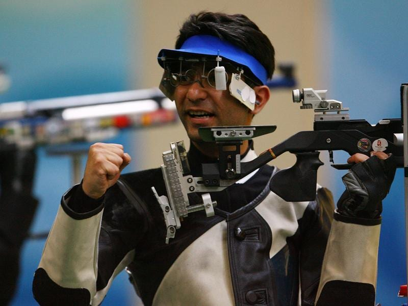 Normally bereft of any emotion, Abhinav Bindra lets it loose after winning the gold medal in the men's 10m air rifle final at the Beijing Shooting Range Hall on August 11, 2008 . (Getty Images)