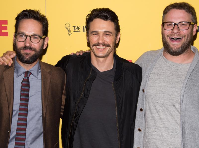 Paul Rudd, from left, James Franco and Seth Rogen attend a screening of the R-rated animated film Sausage Party at the Sunshine Landmark. (Charles Sykes/Invision/AP)