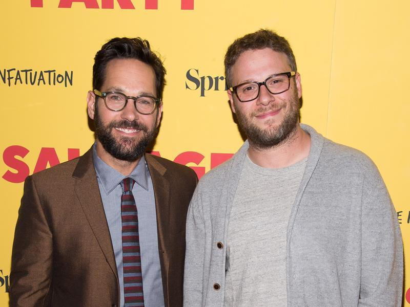 Paul Rudd, left, and Seth Rogen attend a screening of the animated film Sausage Party at the Sunshine Landmark in New York. (Charles Sykes/Invision/AP)