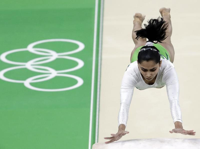 India's Dipa Karmakar performs on the vault during the artistic gymnastics women's qualification. (AP Photo)