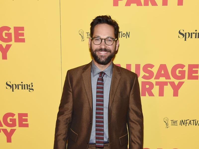 Ant-Man star Paul Rudd has a beard now as he attends the red carpet premiere of  the adult animated movie Sausage Party at Sunshine Landmark. (AFP)
