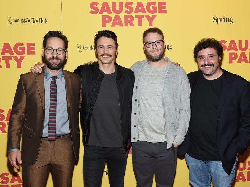 Paul Rudd, James Franco, Seth Rogen and David Krumholtz attend the premiere of Sausage Party at Sunshine Landmark. The film is about a group of sausages who wage war against humans for eating them. (AFP)