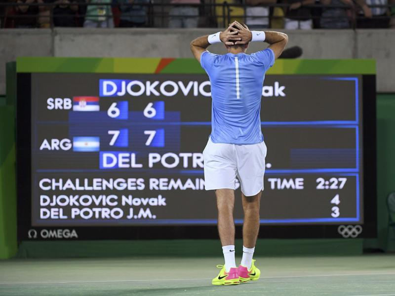 Del Potro used his lethal forehand to stun the Serb with a powerful display to win 7-6(4) 7-6(2) in the biggest upset of the tennis tournament. (REUTERS)
