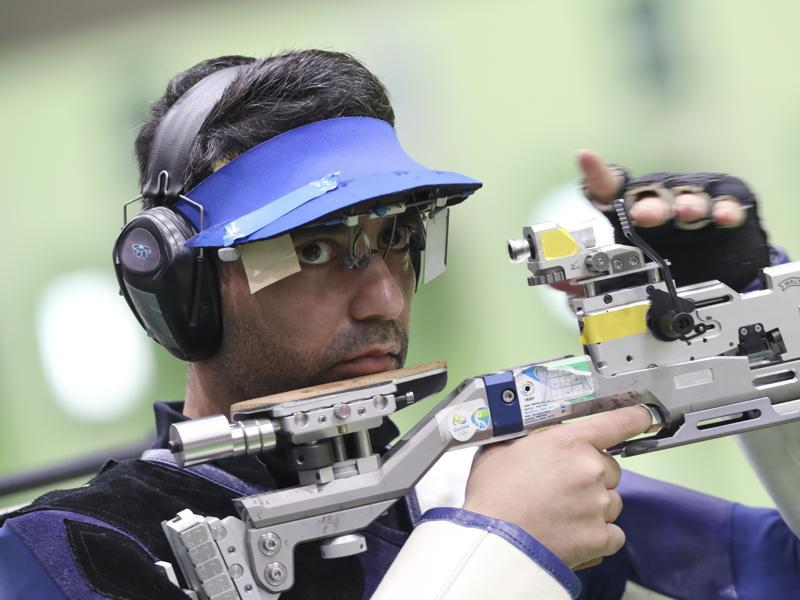 Abhinav Bindra of India competes during men's 10 meter air rifle qualification at Olympic Shooting Center. (AP Photo)