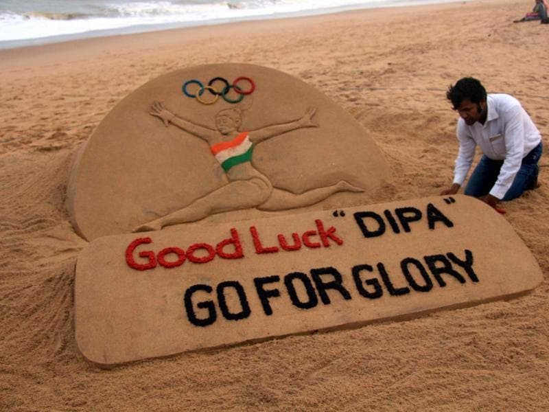 Renowned sand artist Suarsan Pattnaik has created a sand sculpture on Dipa Karmakar for entering into the final round in artistic gymnastic. (Arabinda Mahapatra/HT photo)