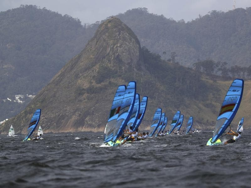 Men competitors are seen during the winsurfing event.  (REUTERS)