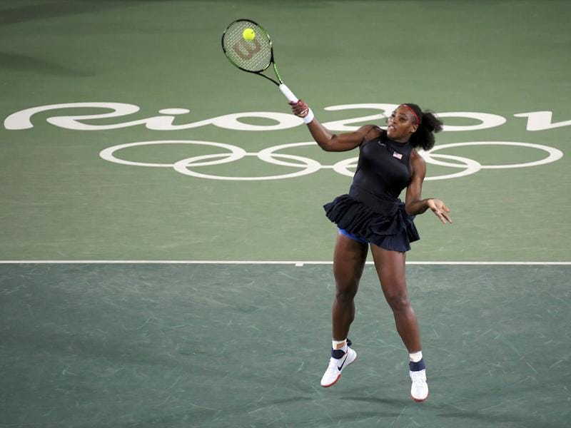 Serena Williams of USA in action against Alize Cornet (FRA) of France in the second round women's singles match.  (REUTERS)