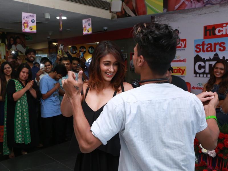 Ileana fulfilled a fan's wish by dancing with him. (AMAL KS /HINDUSTAN TIMES)