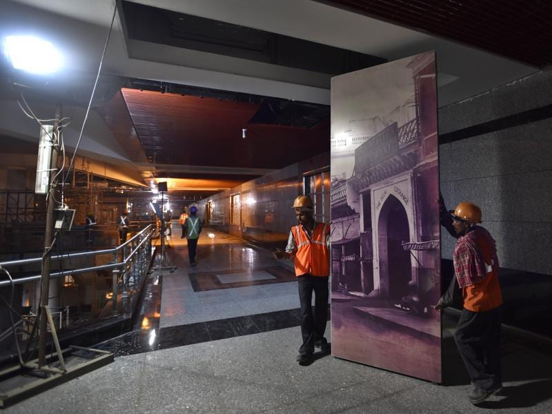 3D panels at the Delhi Gate metro station will show the street character, food, arts, crafts and indigenous trades of Old Delhi. (AJay Aggarwal/HT PHOTO)