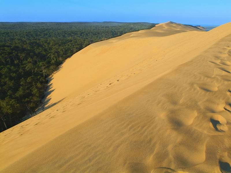 This is the largest dune in Europe, measuring 2.9 km long, 616 meters wide, and 110 meters high, and consisting of 60 million cubic meters of sand. Located at Teste de la Buch in the Arcachon bay area, the Dune of Pilat moves each year by one to five meters, pushed along by the wind and the tides. The gentle slope on the ocean side is easier to climb; the other side plunges steeply towards a forest. (iStockphoto)