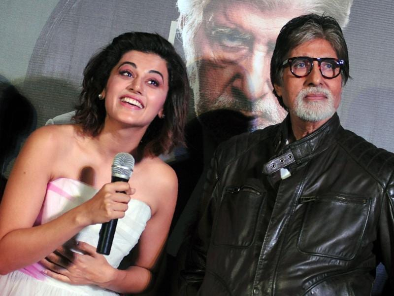 Taapsee Pannu and Amitabh Bachchan speak to media at the trailer launch of Pink. (AFP)
