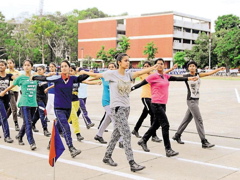 Cadets at rehearsals for the I-Day parade in Chandigarh on Thursday. (Anil Dayal/HT Photo)