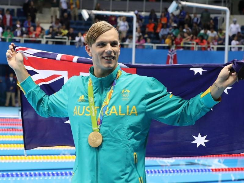 Australia's Kyle Chalmers celebrates after winning his gold medal after the men's 100-meter freestyle. (AP Photo)