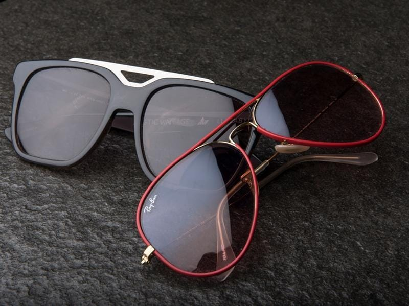 Sunglasses from asos.com and Rayban respectively  (Photo: Aalok soni/HT)