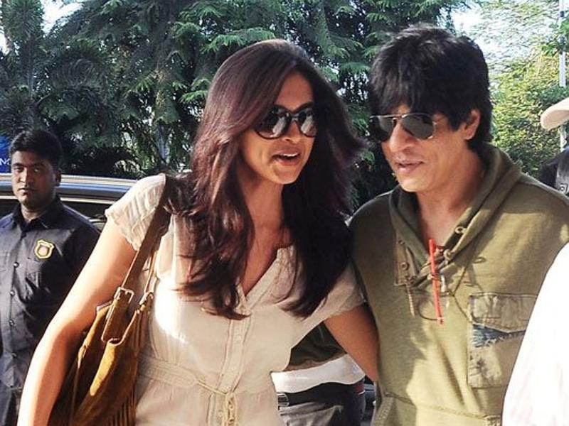 Shah Rukh is also often spotted at airports with his leading ladies, including his Chennai Express co-star Deepika Padukone.  (Pinterest)