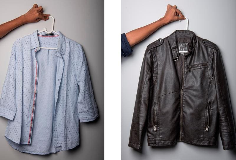 A shirt from Enso and a leather jacket from Diesel   (Photo: Aalok soni/HT)