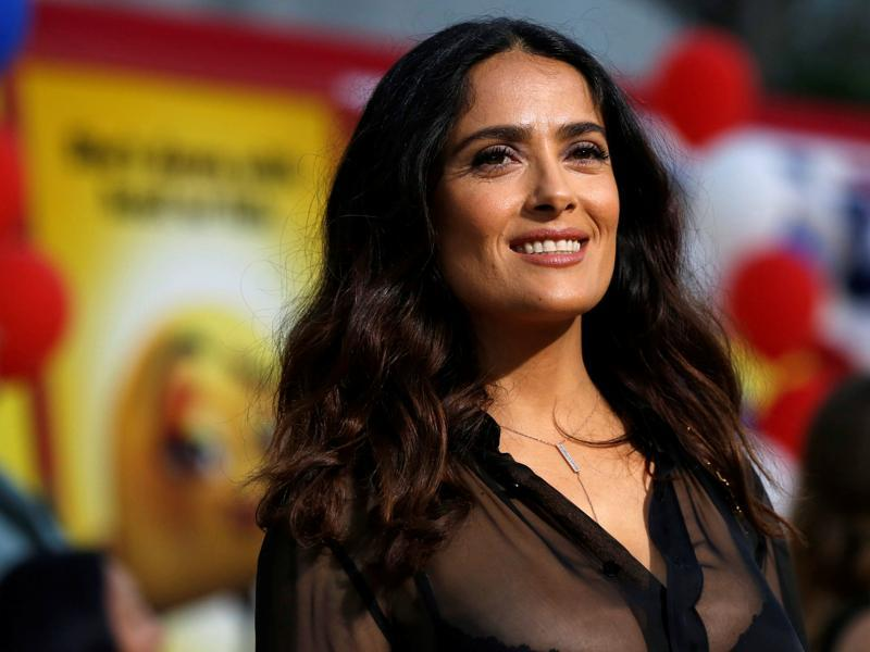 Salma Hayek poses at the Los Angeles premiere for the movie Sausage Party, in which she plays a taco. (REUTERS)