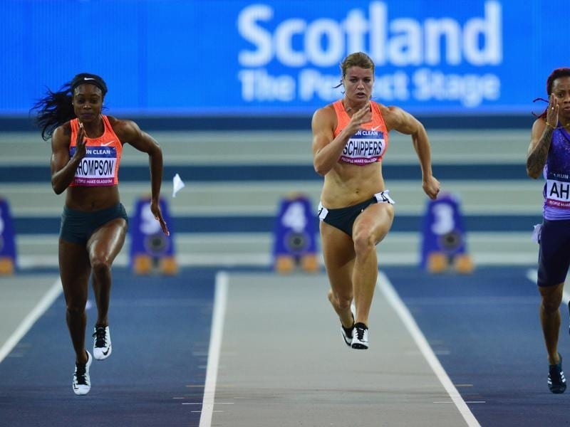 Jamaican Elaine Thompson (left) and Dutch sensation Dafne Schippers are two of the biggest threats to Fraser-Pryce's crown in the  100m race .  (Getty Images)