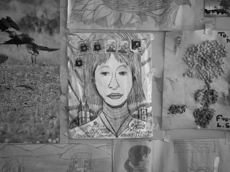 A sketch of Irom Sharmila in her room at Jawaharlal Nehru Hospital. In the custody of the Imphal police on charges of attempt to suicide, she has here spent most of her 5,757 days of hunger strike. Throughout she has been force-fed a rich diet through a nasal pipe. (Saumya Khandelwal/HT PHOTO)