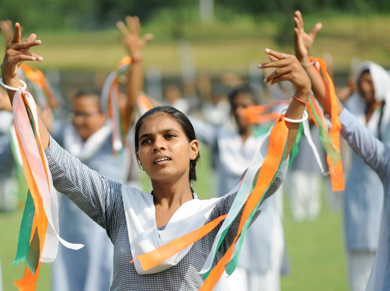 School students rehearsing for their dance performance.  (Bharat Bhushan/HT Photo)