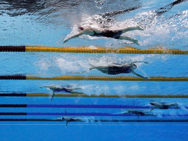 She's not going the wrong way, she's just that far ahead. Ledecky was merely racing the clock as she powered away from the field to touch in 8 minutes, 4.79 seconds, eclipsing the mark of 8:06.68 that she set at a grand prix meet in Texas back in January. (Getty Images)