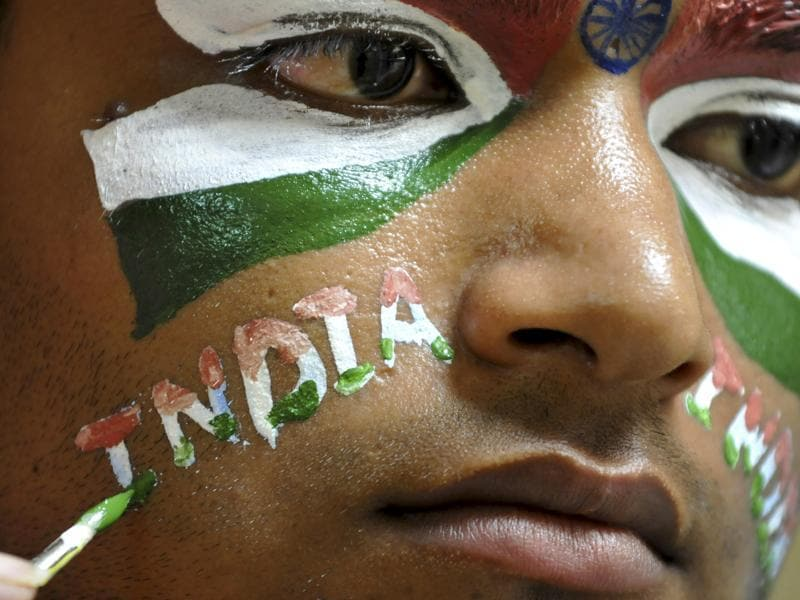 A participant at a face-painting competition. (Sunil Ghosh / ht photo)