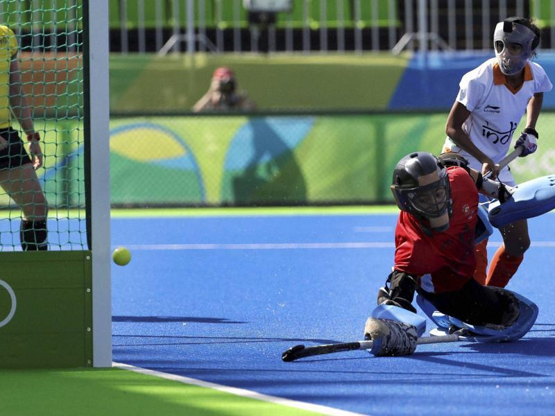 India's goalkeeper Savita Savita watches as the ball flies past her for a goal. The Indian women's hockey team ended their Rio campaign with a 5-0 loss to Argentina. (AP)