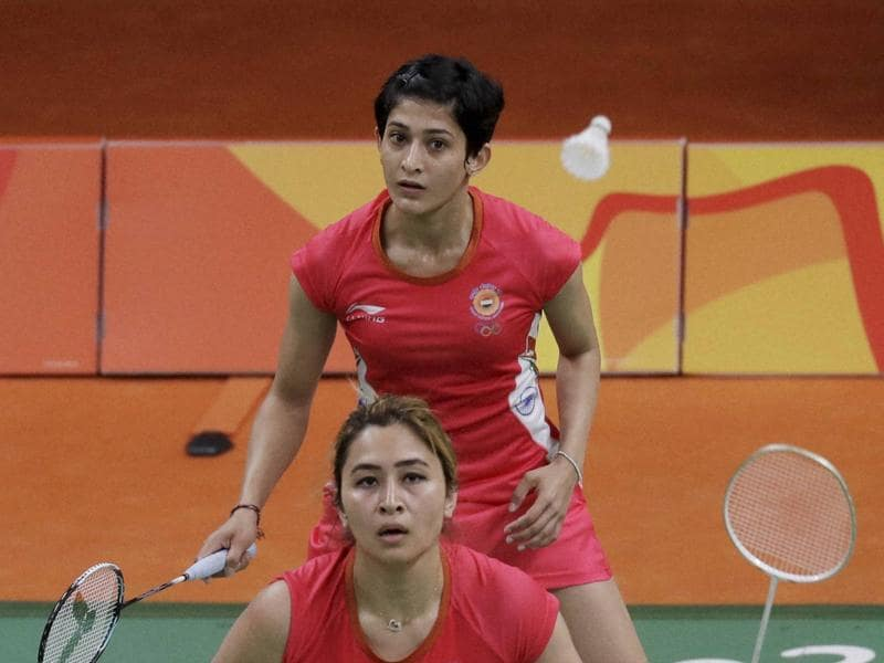 Jwala Gutta, front, and Ashwini Ponnappa's Rio campaign came to an end with a loss to Thailand's Puttita Supajirakul and Sapsiree Taerattanachai 17-21, 15-21 in their final group stage match. (AP)
