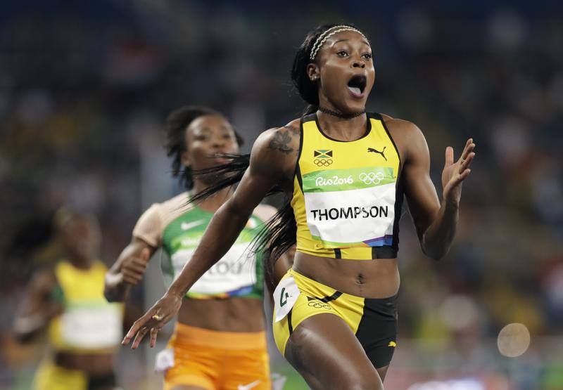Thompson, 24, was second slowest out of the blocks but powered away from the field over the last 50 metres. she clocked 10.71 seconds. (AP)