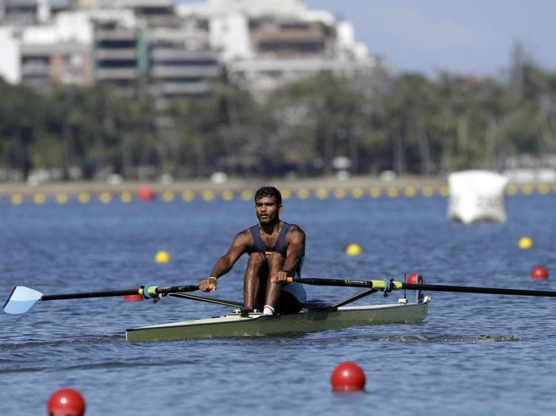 Dattu Baban Bhokanal, of India, competes in the men's rowing single sculls final D. Bhokanal won the final, finishing 13th overall, having been out of medal contention already. (AP)