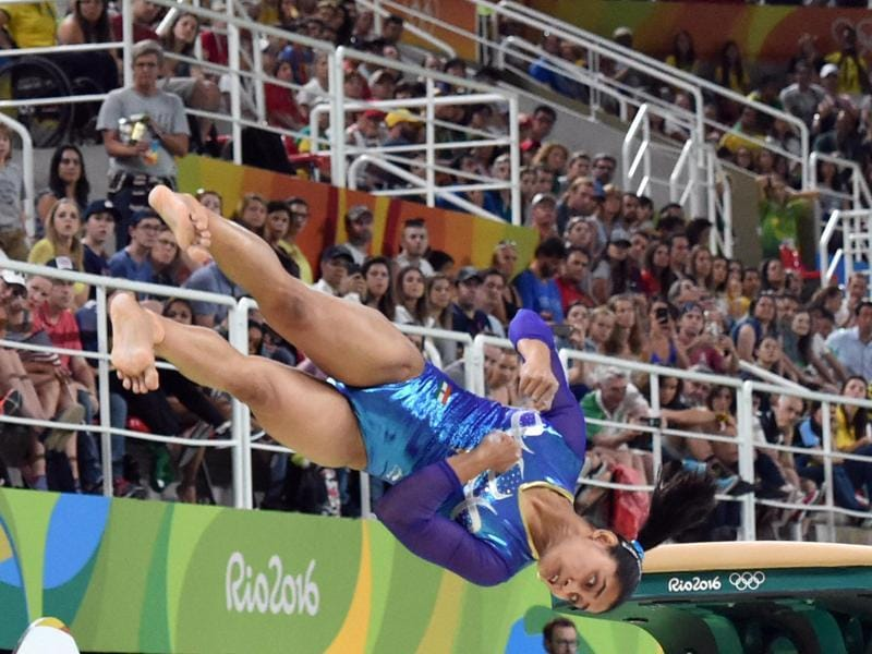 Dipa Karmakar scored 14.8661 points with her first attempt, which included 6.000 points for difficulty and 8.866 for execution. (PTI PHOTO)