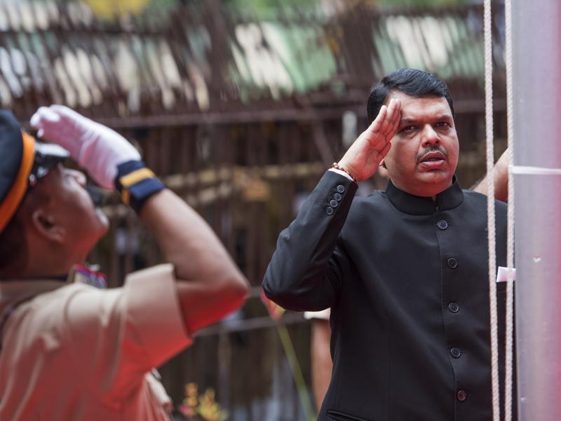 Chief minister Devendra Fadnavis during the flag hoisting ceremony at the Mantralaya in Mumbai on Monday. (satish bate/ ht photo)
