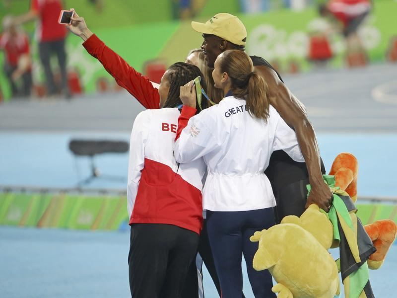Next up was the selfie session with the winners of women's heptathlon --  Nafissatou Thiam, Jessica Ennis-HIll  and Brianne Theisen-Eaton.   (REUTERS photo)
