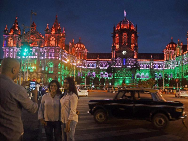 The Chhatrapati Shivaji terminus presents an impressive facade on the eve of August 15; always a hit with locals and tourists alike.  (PTI Photo)