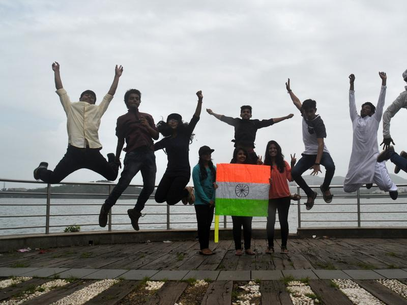Students celebrate India's 70th Independence Day on Monday at Hiranandani in Powai,Mumbai. (Prashant Waydande/ht photo)