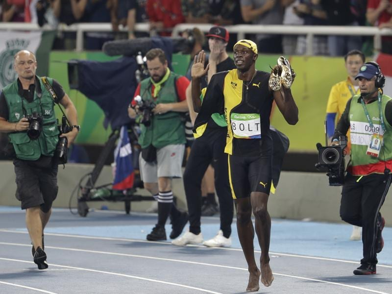 Race was over in below 10 seconds but Bolt ensured the crowd got their money's worth as he stayed on for some trademark post-race revelry. (AP)
