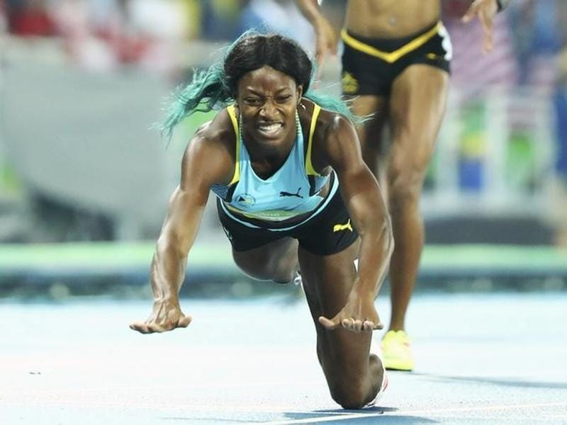 Shaunae Miller of the Bahamas dived over the finish line to win gold in the women's 400m final. Miller beat favourite Allyson Felix of USA, but  she may not have, had it not been for a courageous dive at the finish line. (Reuters)