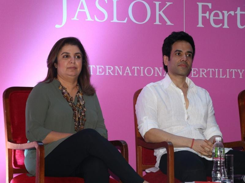 Filmmaker Farah Khan and actor Tusshar Kapoor during the launch of Jaslok hospital`s new wing Jaslok Fertility Tree. (IANS)