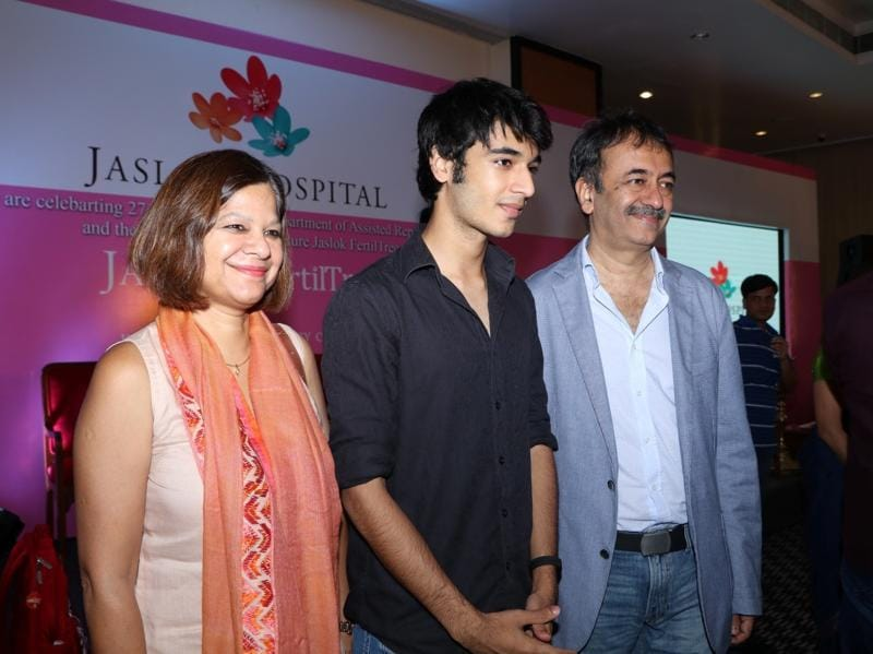 Filmmaker Rajkumar Hirani with wife Manjeet Hirani and son Vir Hirani during the launch of Jaslok hospital`s new wing Jaslok Fertility Tree, in Mumbai. (IANS)