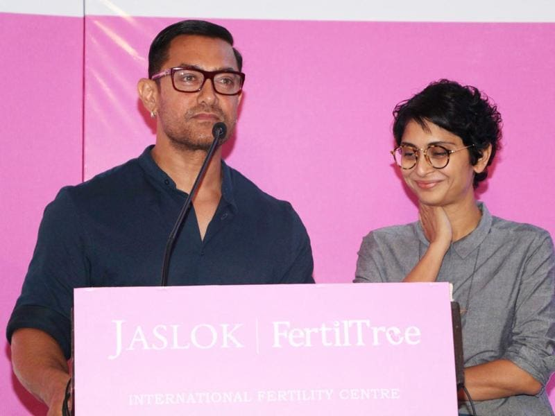 Actor Aamir Khan with his wife Kiran Rao during the launch of Jaslok hospital's new wing Jaslok Fertility Tree, in Mumbai. (IANS)