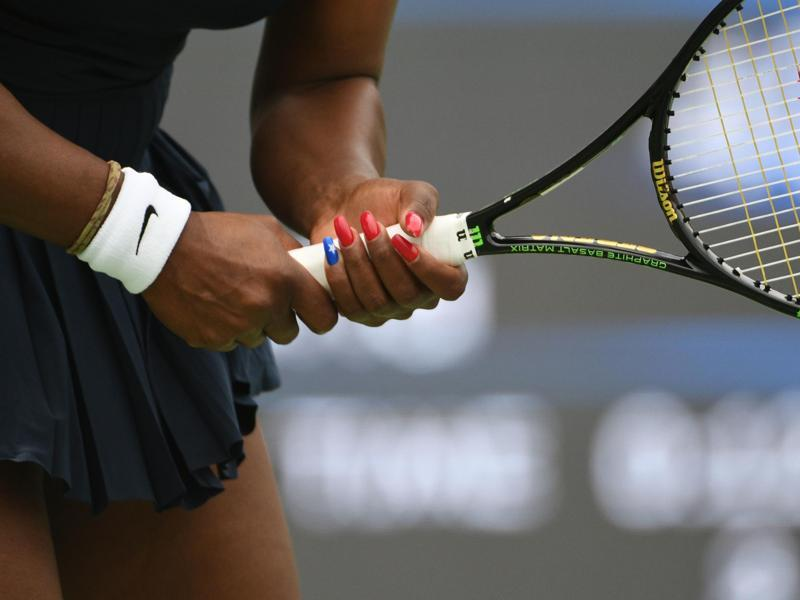 Serena Williams' patriotic nail game is as strong as her backhand. (Pinterest)