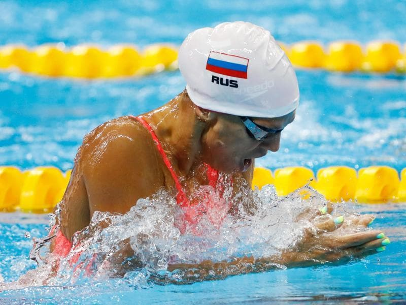 Russian swimmer Yulia Efimova's ombré nails made a serious splash. (Pinterest)