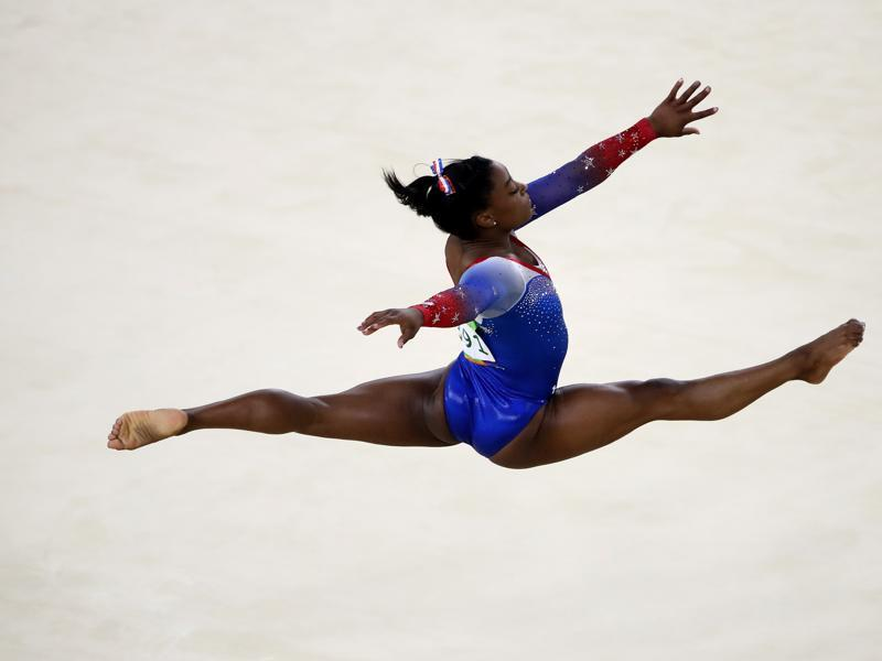 But Biles was back in form a day later, in the floor exercise final. She was  back to her hip-shaking best to capture her fourth gold. (Getty Images)