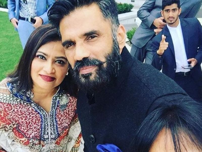 "Suniel Shetty posted this pic on Instagram and wrote, ""Blessed ...Sisters Suj, Sumi...Photo bombers nephew Shane, Rohil n half way there brother in law Bharat! #rakhshabandhan."""