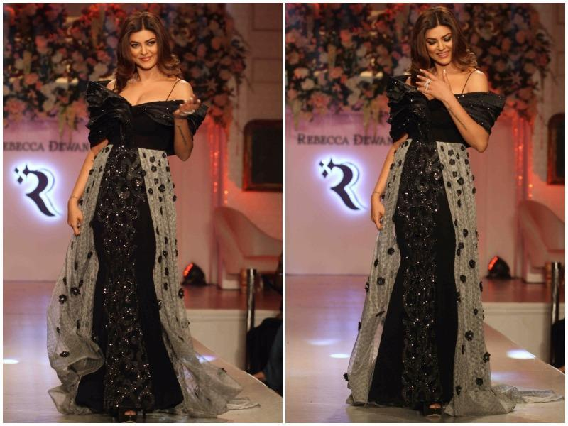And as she walked the ramp for Rebecca Dewan, a designer label in Mumbai, her outfit certainly delivered drama and sex appeal in spades.  (PTI)