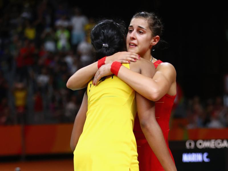 PV Sindhu fought hard on Saturday, but World No 1 Carolina Marin of Spain ultimately proved to be too steep a hill to scale, winning the final 9-21, 21-12, 21-15 to clinch the gold. (Clive Brunskill/Getty Images)